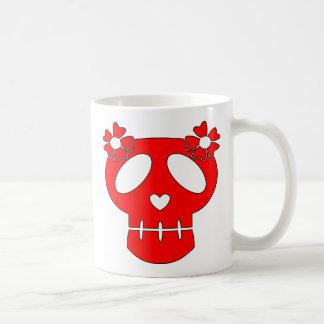 Flores divertidas del cráneo w tazas de café