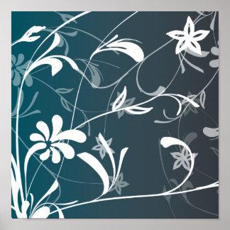 Flores e impresión abstractas de los remolinos poster