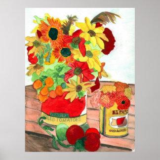 Flores e impresión del poster de los tomates