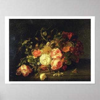 Flores e insectos, 1711 (aceite en el panel) póster