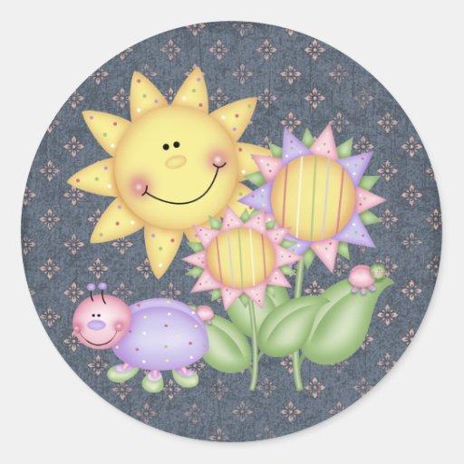 Flores e insectos de Sun Pegatina Redonda
