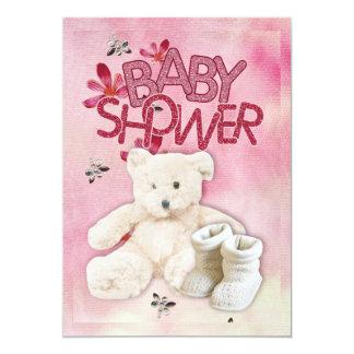 Flores e invitación rosadas de Teddybear Invitación 12,7 X 17,8 Cm