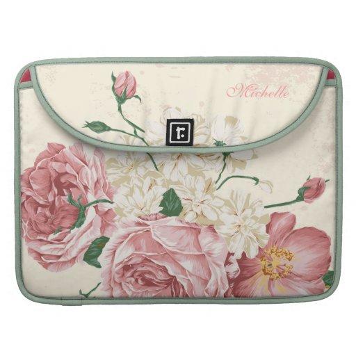 Flores elegantes del rosa del vintage fundas para macbooks