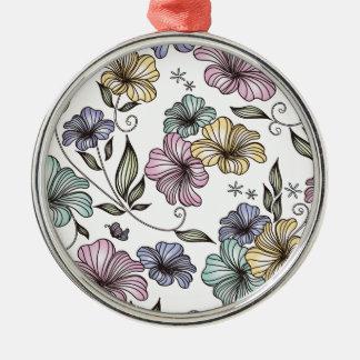 Flores elegantes del vintage del Victorian Adorno Redondo Plateado
