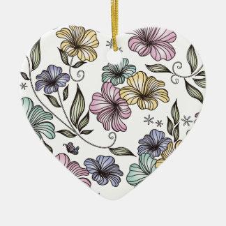 Flores elegantes del vintage del Victorian Adorno De Cerámica En Forma De Corazón