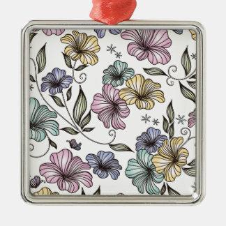 Flores elegantes del vintage del Victorian Adorno Cuadrado Plateado