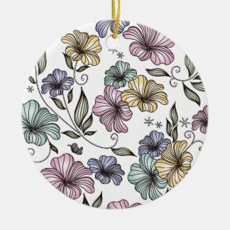 Flores elegantes del vintage del Victorian Adorno Redondo De Cerámica