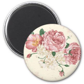 Flores elegantes del vintage imán redondo 5 cm