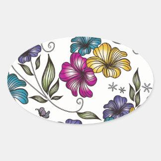 Flores elegantes del vintage colcomanias ovaladas