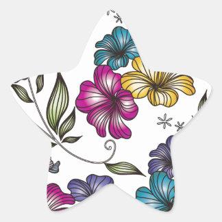 Flores elegantes del vintage calcomania forma de estrella