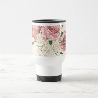 Flores elegantes del vintage taza de viaje de acero inoxidable