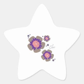 Flores elegantes calcomanías forma de estrellas