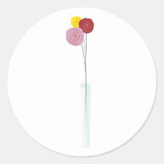 Flores elegantes pegatina redonda