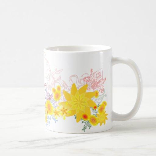 Flores elegantes taza de café
