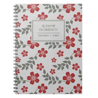 Flores elegantes y hojas grises rojas note book