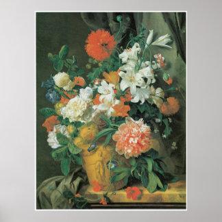 Flores en 1720s del florero de la terracota de A Póster
