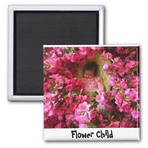 Flores en abril, niño de flor imán cuadrado