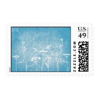 Flores en azul sello