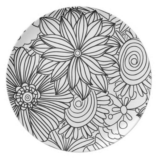 Flores en blanco y negro platos