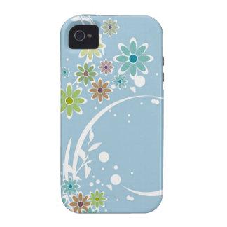 Flores en casamata azul claro Case-Mate iPhone 4 fundas