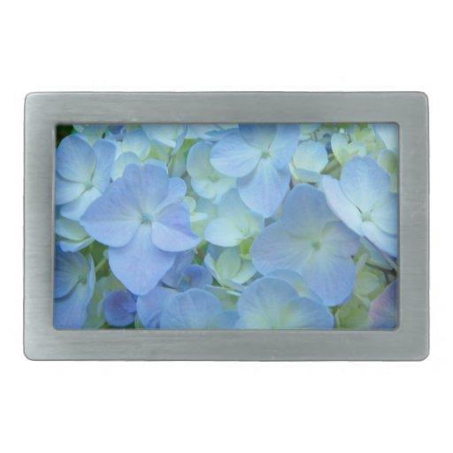 Flores en colores pastel azules del Hydrangea de l Hebilla Cinturón