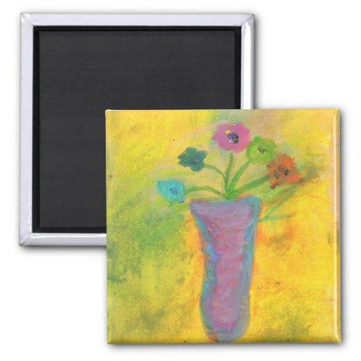 Flores en colores pastel iman de nevera