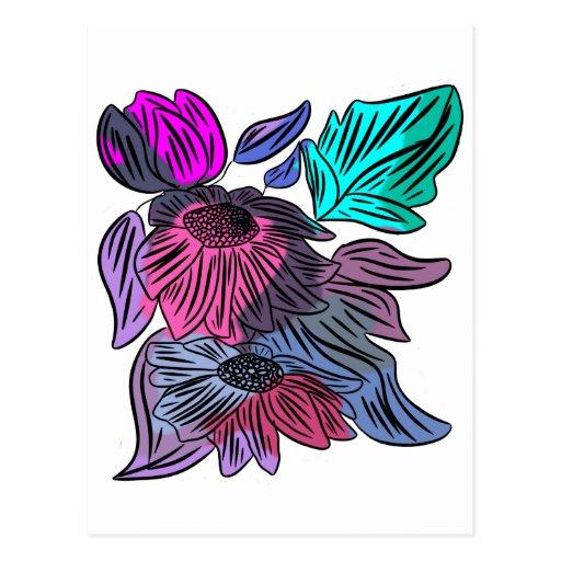 Flores en colores pastel tarjeta postal