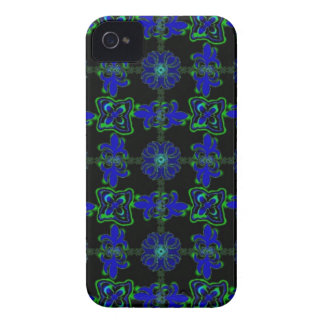 Flores en Deco de especie Retro Style verde azul n iPhone 4 Cárcasa