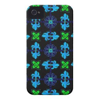Flores en Deco de especie Retro Style verde azul n iPhone 4 Case-Mate Protectores