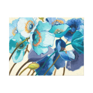 Flores en diversas sombras de púrpura y de azul lona envuelta para galerías