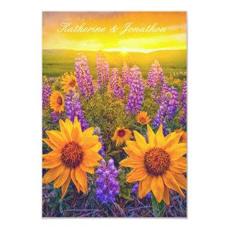 """Flores en el amanecer que casa RSVP Invitación 3.5"""" X 5"""""""