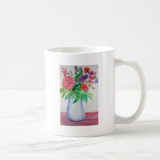 Flores en el arte floral de la acuarela del florer taza
