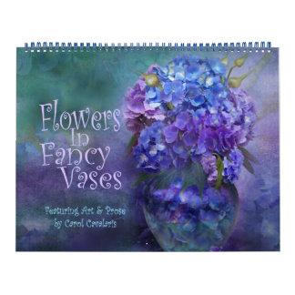 Flores en el calendario de lujo 2016 del arte de
