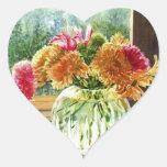 Flores en el florero de cristal calcomanía corazón