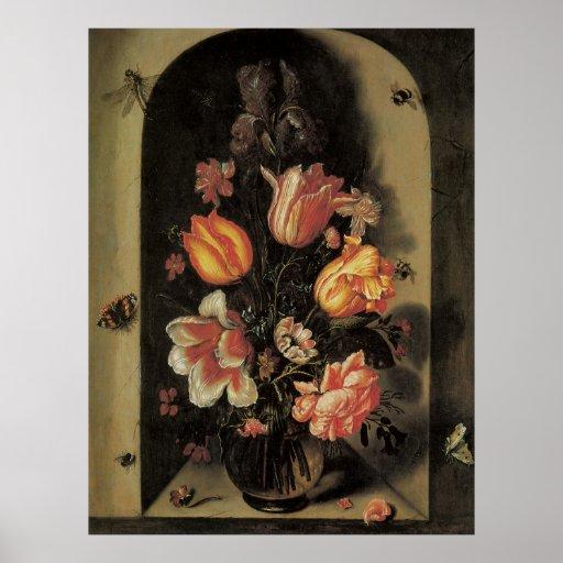 Flores en el florero, vida floral barroca del póster