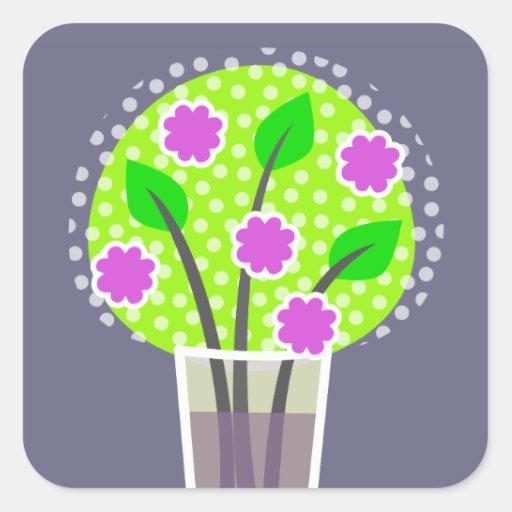 Flores en el florero - violeta pegatina cuadrada