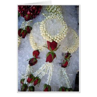 Flores en el hielo tarjeta de felicitación