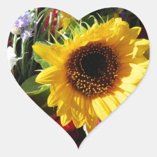 Flores en el mercado de los granjeros pegatinas corazon
