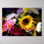 Flores en el mercado el   de los granjeros poster