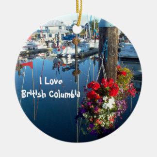 Flores en el puerto adorno redondo de cerámica