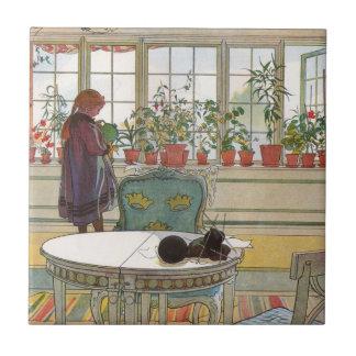 Flores en el Windowsill de Carl Larsson Azulejo Cuadrado Pequeño