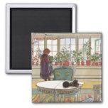 Flores en el Windowsill de Carl Larsson Imán Cuadrado