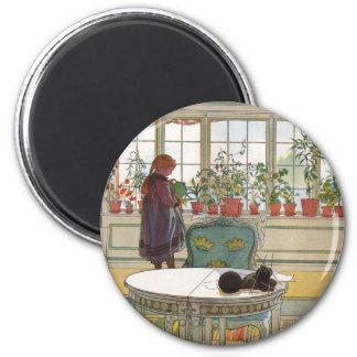 Flores en el Windowsill de Carl Larsson Imán Para Frigorífico