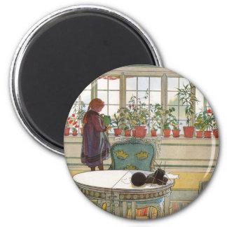 Flores en el Windowsill de Carl Larsson Imán Redondo 5 Cm