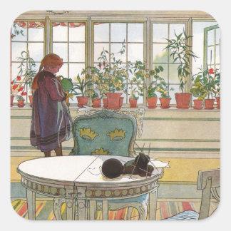 Flores en el Windowsill de Carl Larsson Pegatina Cuadrada