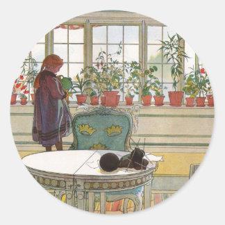 Flores en el Windowsill de Carl Larsson Pegatina Redonda