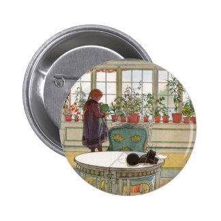 Flores en el Windowsill de Carl Larsson Pin Redondo 5 Cm