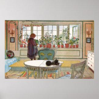 Flores en el Windowsill de Carl Larsson Póster