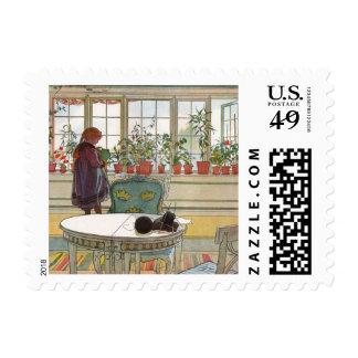 Flores en el Windowsill de Carl Larsson Sello Postal