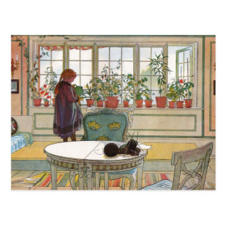 Flores en el Windowsill de Carl Larsson Postal